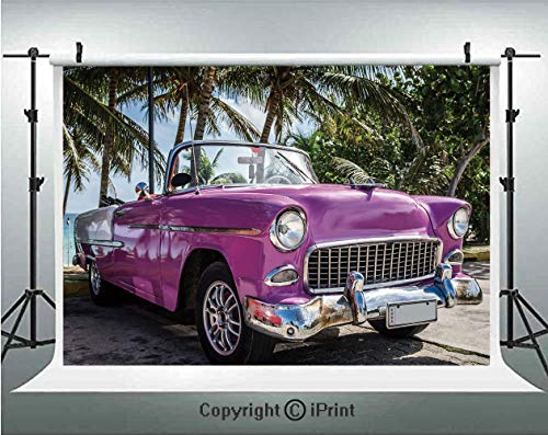 Cars Photography Backdrops Classic Colored Cabriolet Car Parked on the Beach in Cuba Seaside Exotic Trees Print Decorative,Birthday Party Background Customized Microfiber Photo Studio Props,7x5ft,Viol