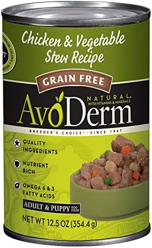 AvoDerm All Life Stages Dry Wet Dog Food, Grain Free, Chicken Vegetables Recipe
