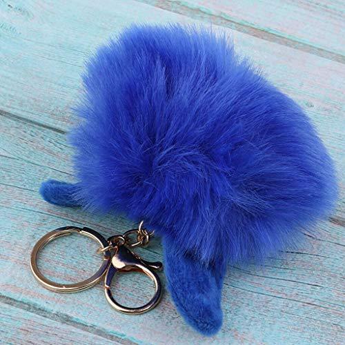NATFUR Plush Rabbit Hair Key Ring Car Key Chain Women Handbag Accessories Elegant Key-Chain for Women Cute Perfect for Gift Novelty Beautiful Great   Color - Sapphire (Chess Terminator)