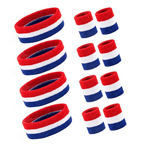 4 Sets Striped Sweatbands Set, 4 Pieces Sports Headband and 8 Pieces Wristbands Sweatbands Colorful Cotton Striped Sweatband Set American Flag Style for Men and Women (4 Sets Red White and Blue)]()