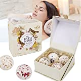 4 Bath Bombs Gift Set - Organic Assorted Spa Bath Bombs Set With All Natural Ingredients, Natural Sea Salt Bath Ball Gift Set Lavender Oregano Cornflower Fragrance with Essential Oil Skin Care Massage Body