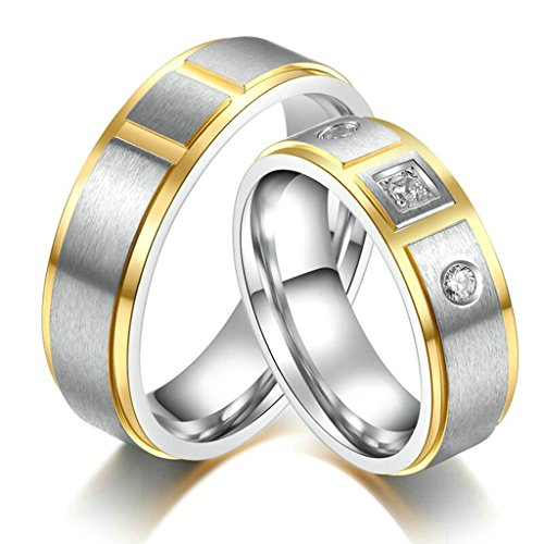 [Aooaz Free Engraving 316L Stainless Steel Ring Silve And Gold Wedding Couple Set(Price For 1Pc) Size] (Paper Bag Princess Couples Costume)