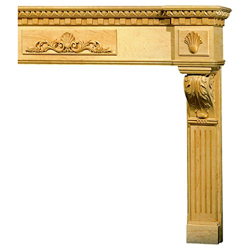 (Mantel Acanthus Dentil Base with Combination Molding Top, MLT-ADM, White Oak)