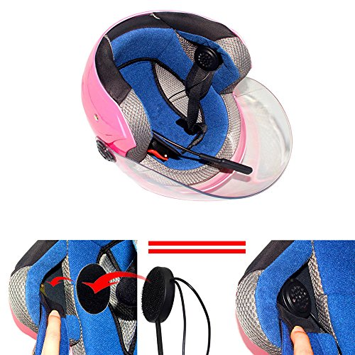 LeaningTech Wireless Motorcycle Helmet Headset Work with Bluetooth 4.0, Helmet Headphones, Hands-Free Microphone for Motorcycle Motorbike Skiing, Music Call Control