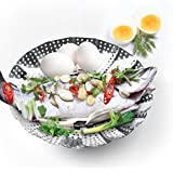 LARGE Vegetable Steamer Basket Set - Steamer Insert for Instant Pot + Safety Tool - 100% Stainless Steel - Pressure Cooker & Instant Pot Accessories, Pot in Pot - Egg Rack