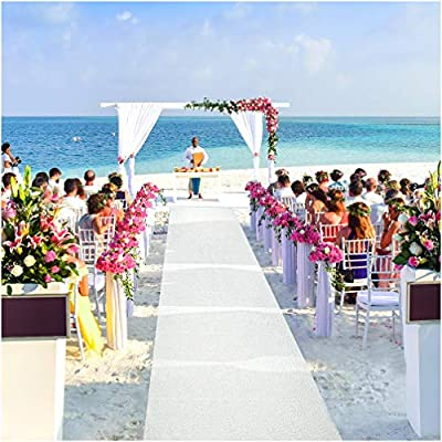 J&A Homes White Wedding Aisle Runner with Pull String – Indoor Outdoor Scroll Print Weddings Ceremony Decoration or Party Decor – 3 x 100 Feet Roll