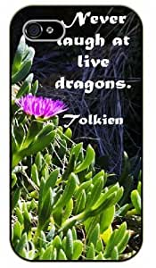 "iPhone 6 (4.7"") Never laugh at live dragons. Tolkien - Black plastic case / Inspirational and motivational life quotes / SURELOCK AUTHENTIC"