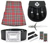 Mens Royal Stewart Tartan 7 Piece Semi Dress Kilt Outfit Size: 34'' - 36''