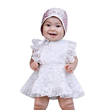 1abab550652c CHshe Newborns Baby Girl Summer Lace Tutu Princess Dress Ruffle Jumpsuit  Romper Party Clothes 0-18 Months White  Amazon.co.uk  Clothing