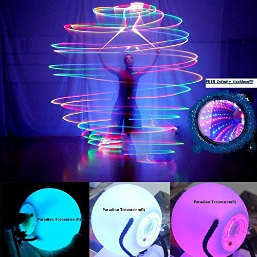 Light Up Rave Toys (Paradise Treasures LED Poi Ball Swirling Light-up Rave Toy with Infinity Tunnel Necklace, Set of)