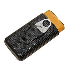 Leather Spain Cedar Wood Lined Material Travel Cigar Case Portable Humidor Box Holder 3 Tube (black)