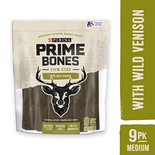Purina Prime Bones 00038100185983  Made in USA Facilities Limited Ingredient Medium Dog Treats, Chew Stick with Wild Venison - 21.8 oz. Pouch