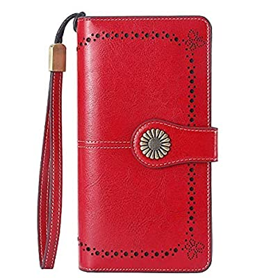 Lavemi RFID Blocking Large Capacity Luxury Leather Clutch Wallets Credit Card Holder Wristlet for Women