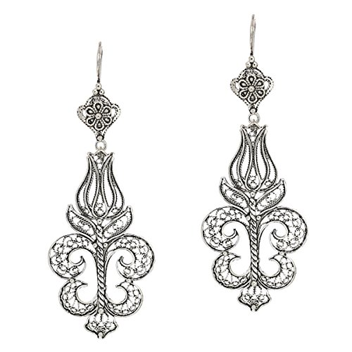 - 925 Sterling Silver Artisan Filigree Dangle Tulip Earrings