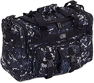 Mens 18Inch Navy Digital Camo Military Molle Tactical Gear Shoulder Strap Travel Bag with Key Ring Carabiner by npusa