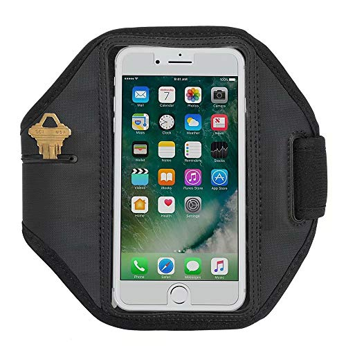 Universal Armband with Key Holder for LG G Stylo, ALCATEL OneTouch Idol 3, HTC One M7, Desire 526, Desire Eye, Huawei Honor, P9, P8 Lite, SnapTo, BlackBerry Priv, Leap, DTEK50 (One Touch M7)