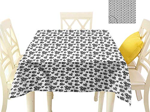 (WilliamsDecor Square Tablecloth Poker,Monochrome Ornamented Signs BBQ Tablecloth W 54