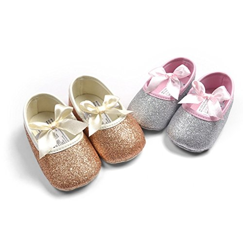 Etrack-Online - Zapatos de princesa para niñas, con purpurina, suela suave rosa rosa Talla:12-18months dorado