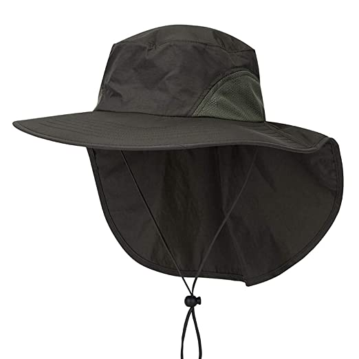 cc4e935d Amazon.com: Sunyastor Unisex Outdoor Sun Protection Fishing Cap with Neck  Flap Wide Brim Sun Hat for Travel Camping with Adjustable Army Green:  Clothing