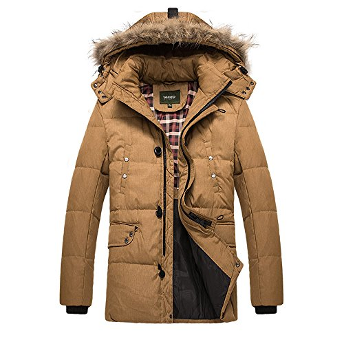 Evelin LEE Men's Plus Size Outdoor Coats Cold Winter Thicken Cotton Jacket With Fur Hood (Sandstone Arctic Jacket)