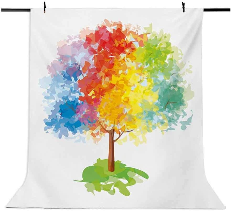 Rainbow 6.5x10 FT Photo Backdrops,Multicolored Abstract Tree Seasons of The Year Inspirations Blooming Nature Imagery Background for Party Home Decor Outdoorsy Theme Vinyl Shoot Props Multicolor