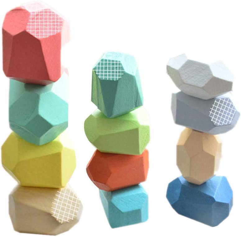 OVKMANG Wooden Blanace Blocks Set Balancing Stones Block Lightweight Natural Colored Stacking Game Educational Puzzle Toy Multicolor A, 10pcs
