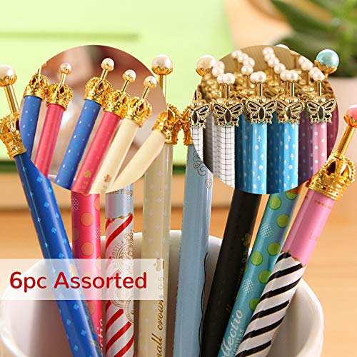 eKoi Elegant Colorful Korean Gold Crown Butterfly Automatic Mechanical Pencil for School Student Office Cute Fun Writing Stationery Supplies Set (6 PC 0.5 mm Assorted Pack)