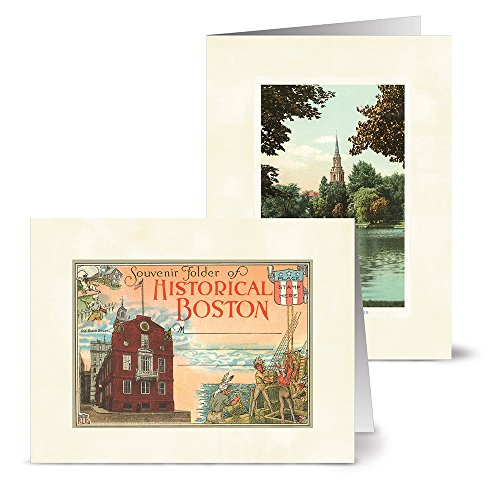 Vintage Boston - 36 Note Cards - 12 Designs - Blank Cards - Off-White Ivory Envelopes Included