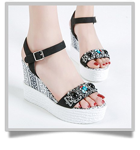 Black Heel WENDWU Comfort Women's Classic Sexy Sandals Mid Wedge w8zRqwp