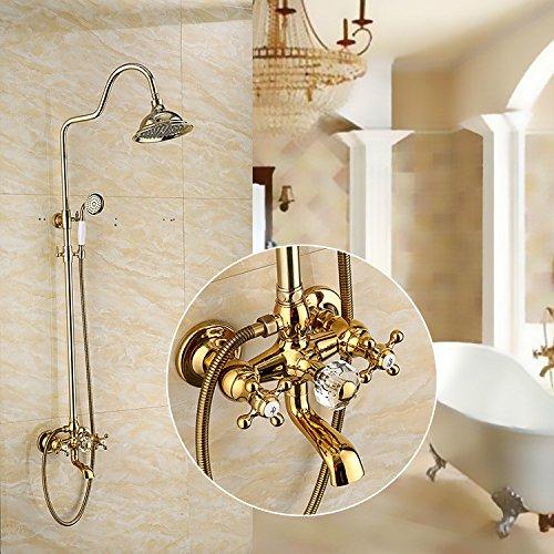 ZXYShower column full copper gold Antique European shower set shower faucet
