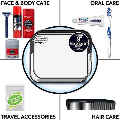 Convenience Kits International Men's Deluxe, 9-Piece Kit with Travel Size TSA Compliant Essentials , Featuring: Old…