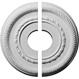 """Ekena Millwork CM12FE2-03500 12 5/8""""OD x 3 1/2""""ID x 1 1/8""""P Federal Roped Small Ceiling Medallion, Two Piece (Fits Canopies up to 6""""), Factory Primed"""