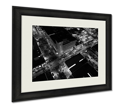 Ashley Framed Prints Aerial Photo Of Lincoln Road Mall Miami Beach, Wall Art Home Decoration, Black/White, 34x40 (frame size), - Mall Shops Promenade