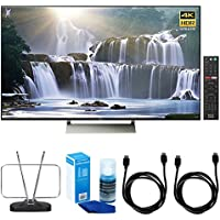 Sony XBR-55X930E 55-inch 4K HDR Ultra HD Smart LED TV (2017 Model) w/ TV Cut the Cord Bundle Includes, Durable HDTV and FM Antenna, Universal Screen Cleaner & 2x 6ft High Speed HDMI Cable - Black