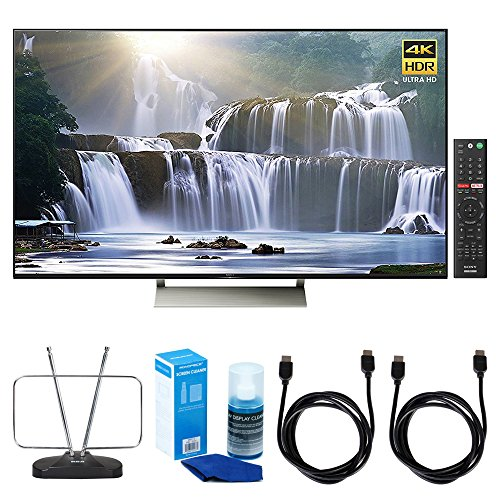 Sony XBR-55X930E 55-inch 4K HDR Ultra HD Smart LED TV (2017 Model) w/ TV Cut the Cord Bundle Includes, Durable HDTV and FM Antenna, Universal Screen Cleaner & 2x 6ft High Speed HDMI Cable - Black (Format Tv Sony Large)