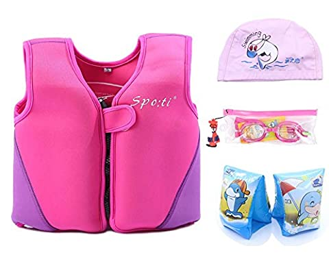 Child's Swim Small Life Vest 18 Month - 2 Years Colour Pink include Swim Arm Band and Swimming Goggles and Swim (Life Vests 5x)