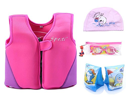 Genwiss Baby Girl Swim Vest Toddler Swim Vest for Age 18 Months - 2 Years Baby Toddler Fit 20-28 lbs, Size Small, Pink with Swim Arm Bands, Swim Goggles, Swim Cap