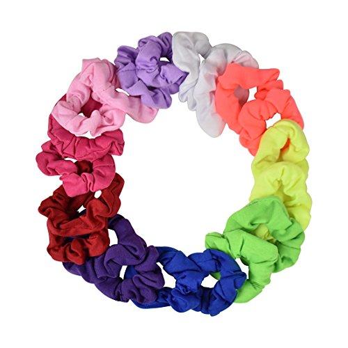 20 Pack Small Scrunchies Cotton Hair Elastics - Rainbow (Jersey Cotton Rainbow)