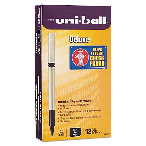 uni-ball Deluxe Roller Ball Stick Waterproof Pen, Black Ink, Fine, Dozen