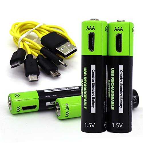 (4-Pack) LTM-Smart Micro USB Rechargeable Batteries AAA 400 mAh Output 1.5V Household Batteries Rechargeable Li-Polymer Battery with 1pc Free 4 in 1 USB Cable ()