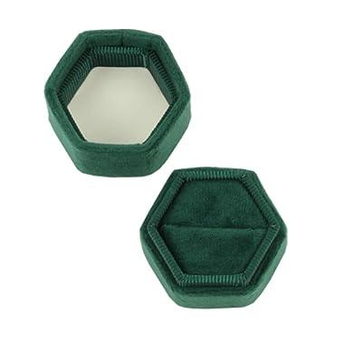 Koyal Wholesale Velvet Ring Box, Emerald Green, Hexagon Vintage Wedding Ceremony Ring Box with Detachable Lid, 2 Piece Engagement Ring Box Holder, Modern Proposal Idea, Slim Ring Box Display
