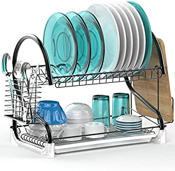 Veckle 2 Tier Dish Rack with Removable Drain Board