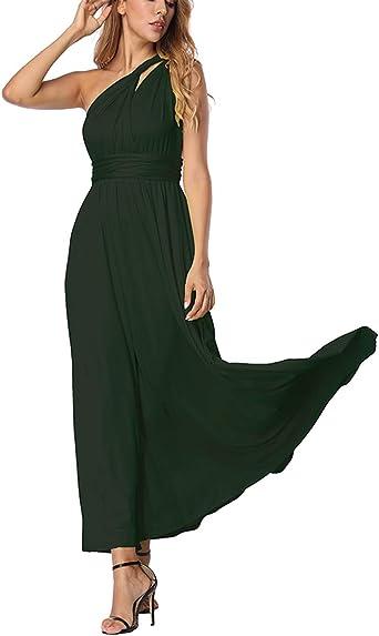 TALLA S(ES 36-40). FeelinGirl Mujer Vestido Maxi Convertible Espalda Decubierta Cóctel Multiposicion Tirantes Multi-Manera Largo Falda para Fiesta Ceremonia Sexy y Elegante Verdinegro S(ES 36-40)