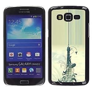 TECHCASE**Cubierta de la caja de protección la piel dura para el ** Samsung Galaxy Grand 2 SM-G7102 SM-G7105 ** Floral Pattern Eifel Tower Paris Painting