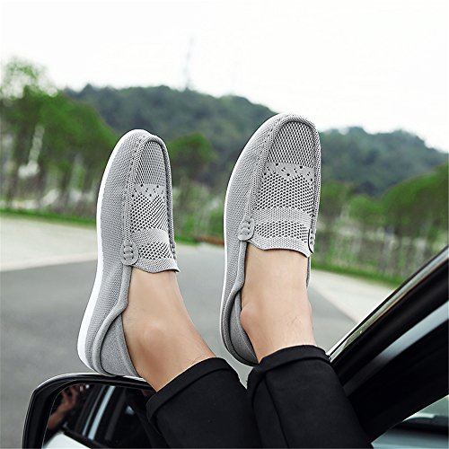 Mocassini Da Uomo Waltzon Casual Traspirante Tessuto A Coste Slip On Driving Mocassino Scarpe Grey03