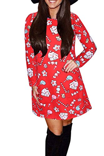 12 Print Dress Flared Santa A Claus Line Pullover Women's New Christmas LaSuiveur wqpPFw