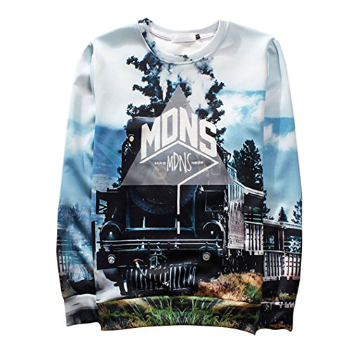 Unisex Hipster Train Swag 3D Sweatshirt Sportswear Hoodies Sweat Shirt (L)