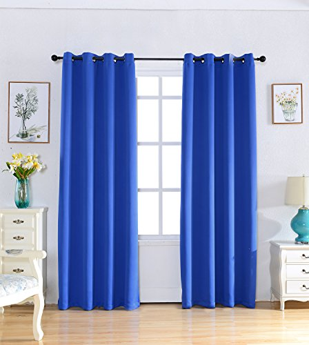 Kotile Ring Top Royal Blue Curtains 2 Panels Home Fashion Window Privacy Assured Blackout Decorative Curtains for Bedroom Curtains 84 Inch Long with 2 Free Tiebacks ( 52 by 84_inch, Royal Blue )