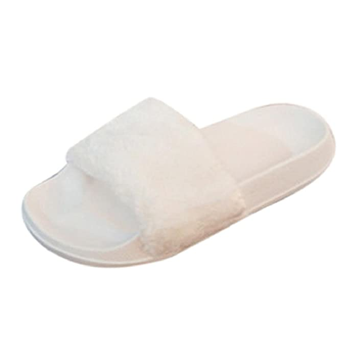 82d9296949da Sunfei Womens Ladies Slip On Sliders Fluffy Faux Fur Flat Slipper Flip Flop  Sandal (38