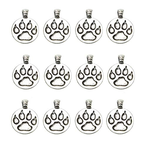 (Monrocco 40 Pack Antique Silver Bear Paw Charms Animal Paw Print Charms Pendant for Necklace Jewelry Making)